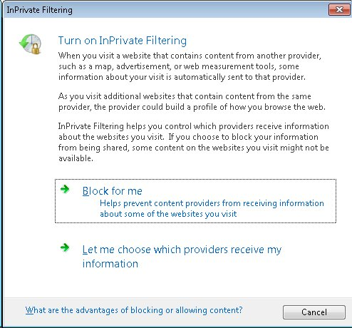 how to turn off inprivate browsing