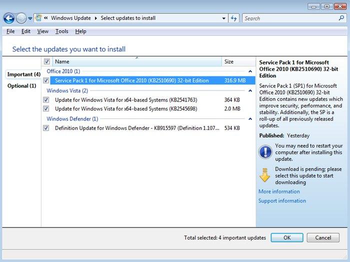window 7 update